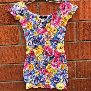 Nasty Gal floral stretchy bodycon mini dress